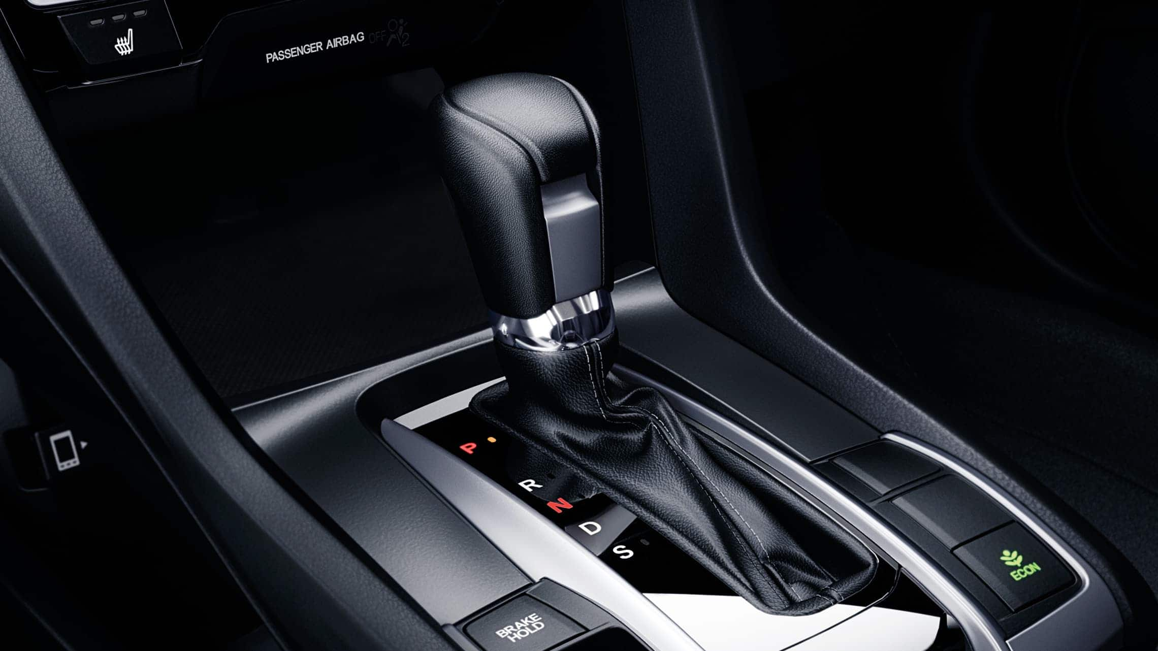 CVT transmission shifter detail in the 2020 Honda Civic Touring Sedan.