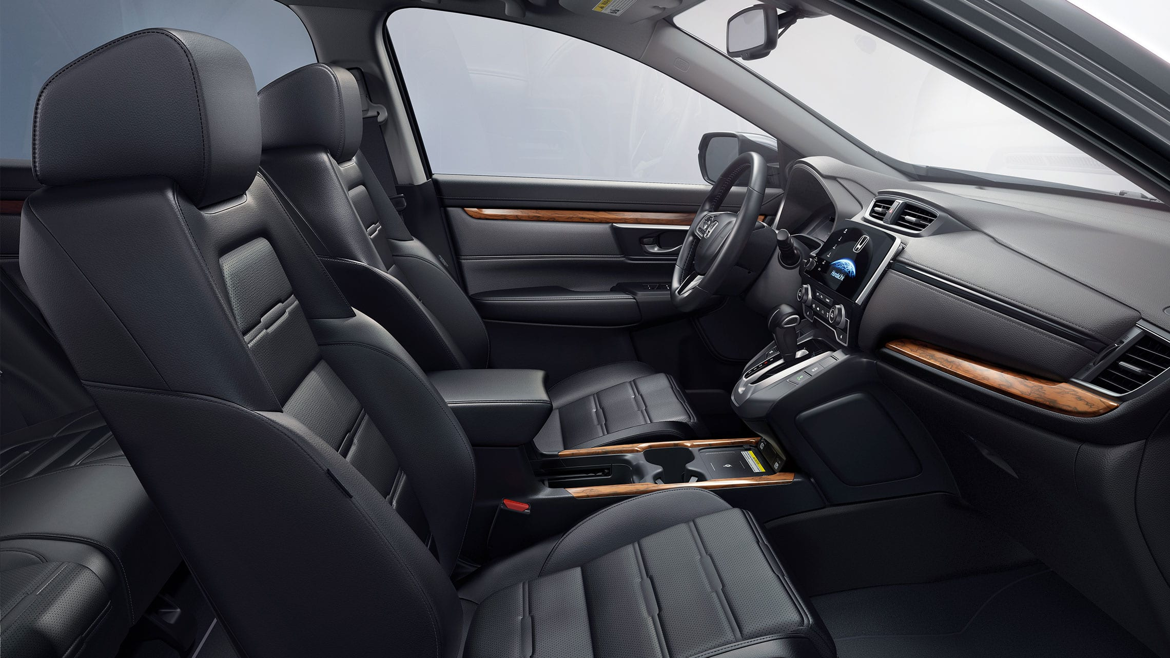 Interior view of 2020 Honda CR-V Touring with leather-trimmed interior.