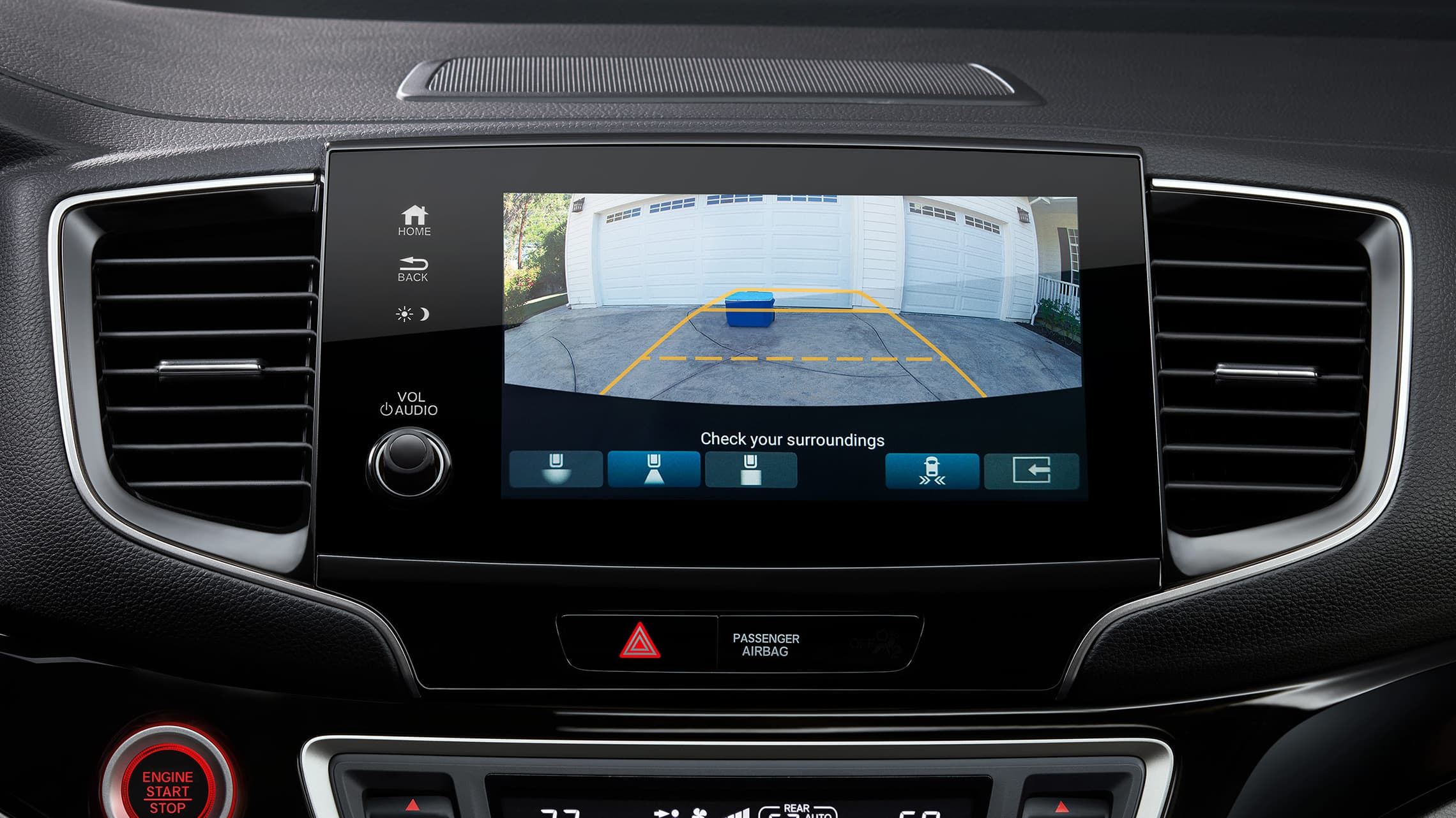 Interior cabin view of center screen with multi-angle rearview camera on the 2020 Honda Pilot.