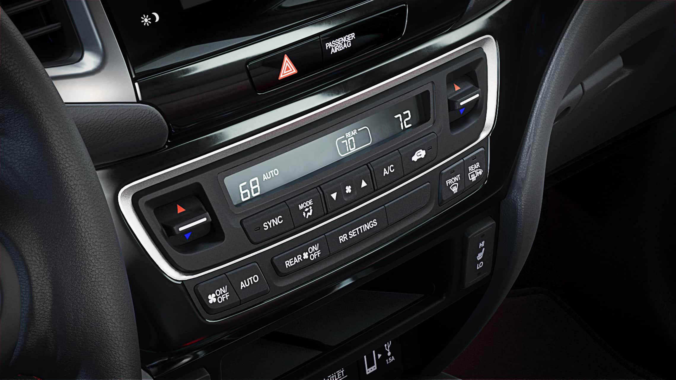 Tri-zone climate-control detail in the 2020 Honda Ridgeline.